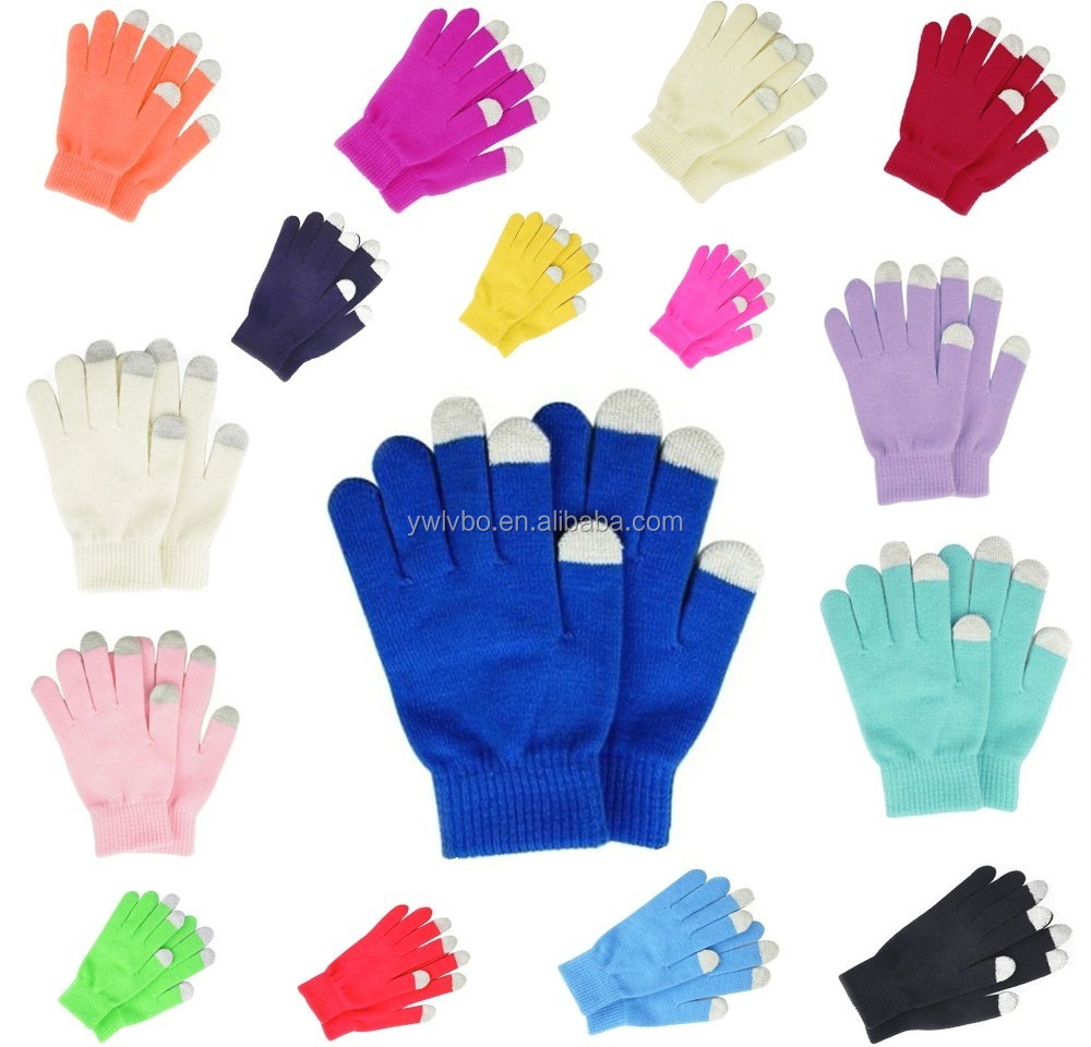Supply Youch Imprint Logo Magic Unisex Women Men Winter Knit Stretch Touch Screen Gloves | Screen Touch Gloves