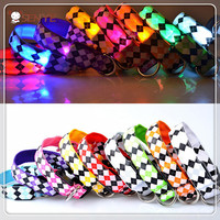 Super Value High Quality Nylon Nylon LED Flashing Dog Collar With 3 Flashing Mode 9 color