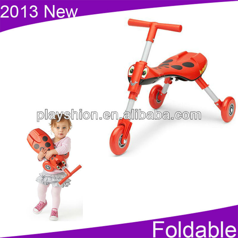 Kids Three Wheel Scooter With 3 Step Folding Action