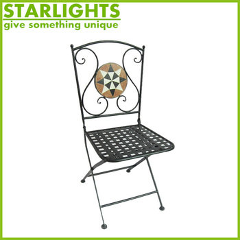 Folding Round Chair Metal Mosaic Bistro Chair