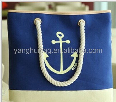Rope flax navigation mark blue tote beach bag