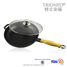 Pre-seasoned cast iron cookware wood handle large cast iron griddle pan