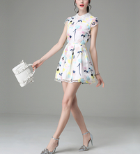 B20686A The new stylish nail bead print dress organza fashion Lady trend dress