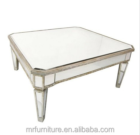 Silver And Gold Rimming Square Mirrored Coffee Table For Living