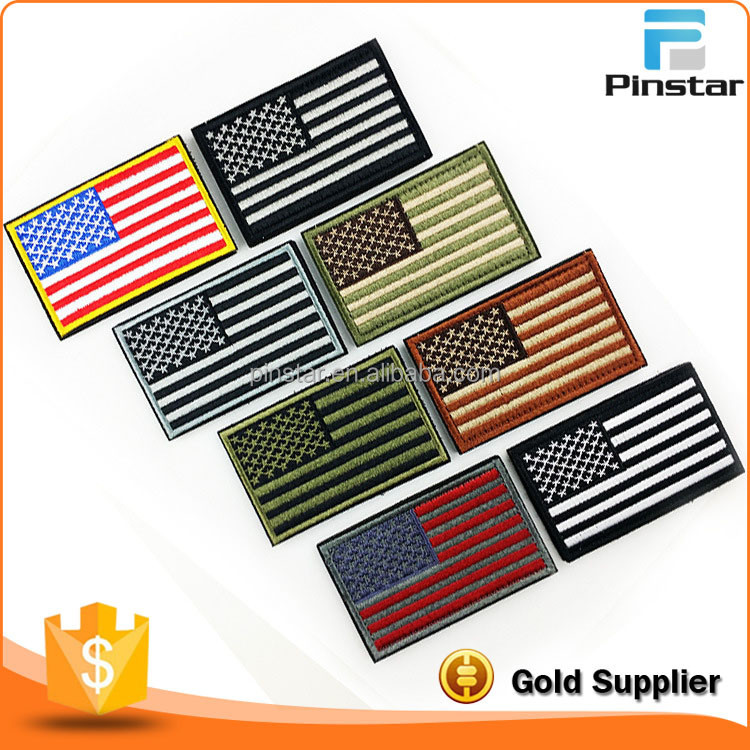 100% Factory Store Custom US Flag Embroidery Patch With Iron On Backing