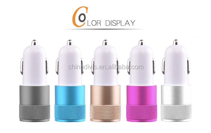 Wholesale mobile phone accessories fast charging portable 5V 2.1A dual port USB car charger for mobile phone/tablet