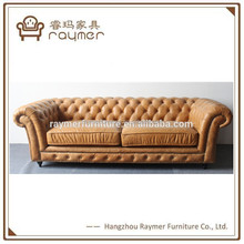 Classic Italian sofa chesterfield couch artificial PU rustic leather sofa