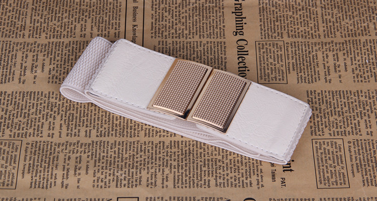 wp1035 Diamond Buckle PU Leather Stretchy Waist Belt for girl