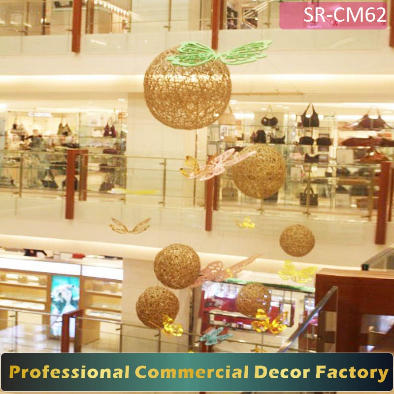 Customize commercial shopping center hotel large ceiling hanging golen ball and butterfly for festival decoration
