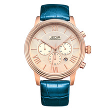 JEDIR 2012G Rose Gold Cae Wholesale Watches Made In China Leather Strap Chronograph Luminous Hand Mens Watches Top Brand