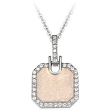 Yiwu Aceon Stainless Steel square tag natural quartz crystal point pendant