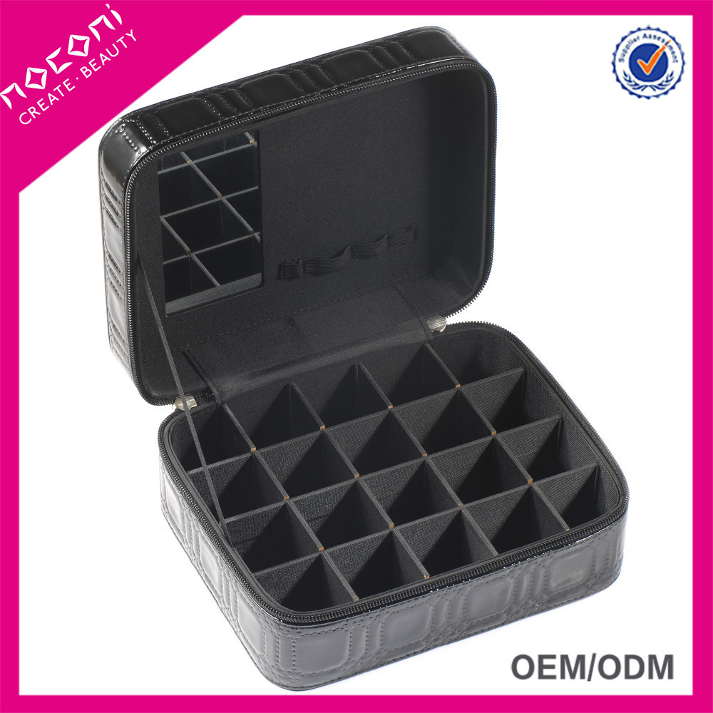 Noconi Portable Travel Cosmetic Manicure Nail Polish Organizer Carrying Case, PU Nail Polish Storage Box
