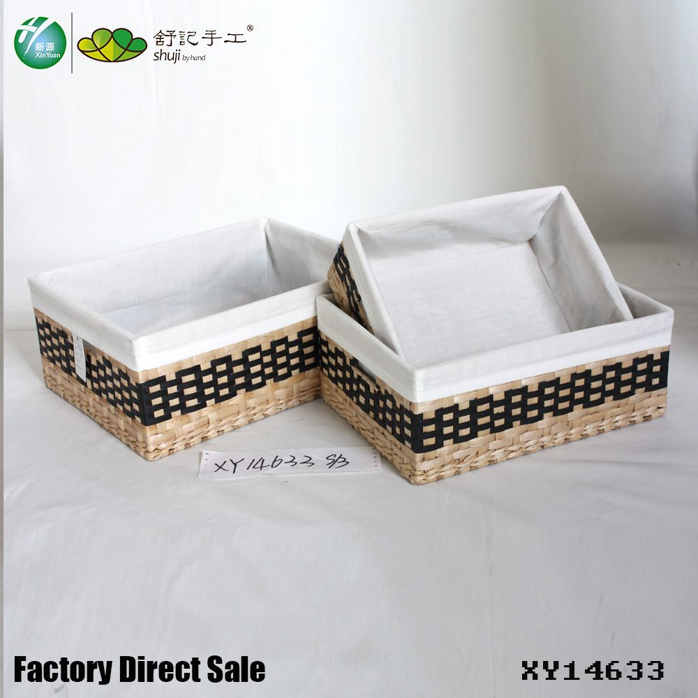 Rush & Paper Rope woven storage basket with liner