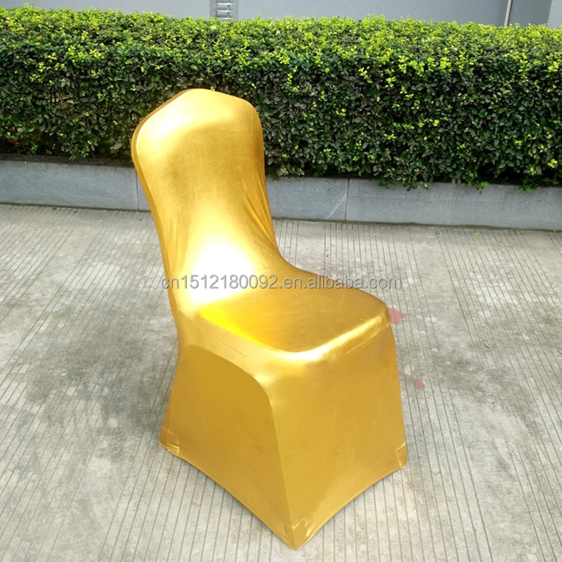 Cheap Factory Gold Spandex Lycra Chair Cover Wholesale Wedding Decoration
