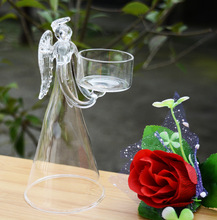 Angel figurine statue clear glass church candle holder for wholesale