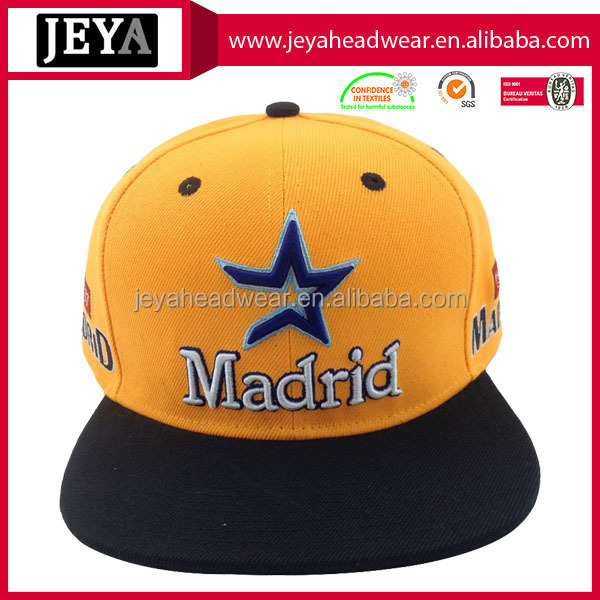 Embroidery star contrast color flat brim baseball cap snapback hats
