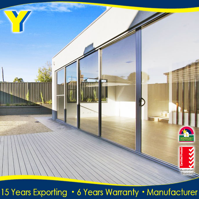 YY Aluminum glass door and window AS2047 sliding glass door frosted tempered glass