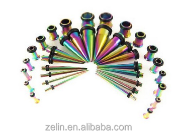 Rainbow PVD Plated Ear Taper Plug Body Jewelry Stainless Steel Ear Plug Stretcher