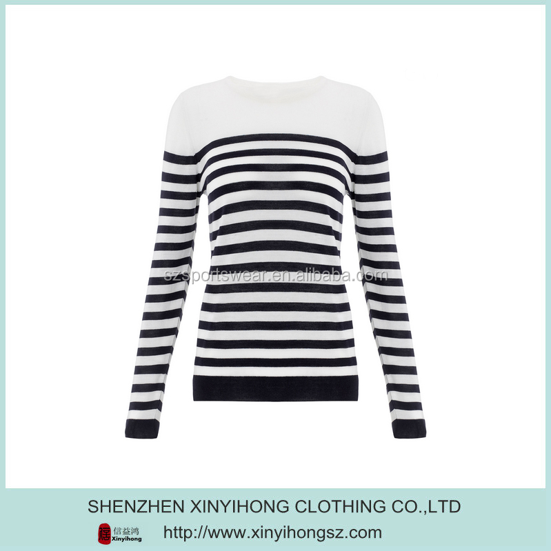 White Black Combinations Cotton Lycra Comfortable Fitted Striped T Shirt