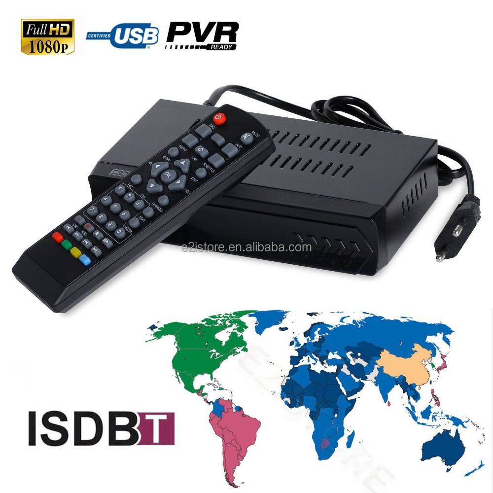 FTA ISDB-T Digital Terrestrial Converter Tuner Receiver Video TV Set Top Box 1080P HD Out Support Media Player Pvr Recording EPG