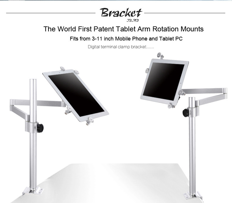 Universal Tablet Arm Desk Top Cell Phone Mount Holder Clamp Bracket Handsfree Tablet Stand for iPad Pro 9.7 air 2 Mini 4