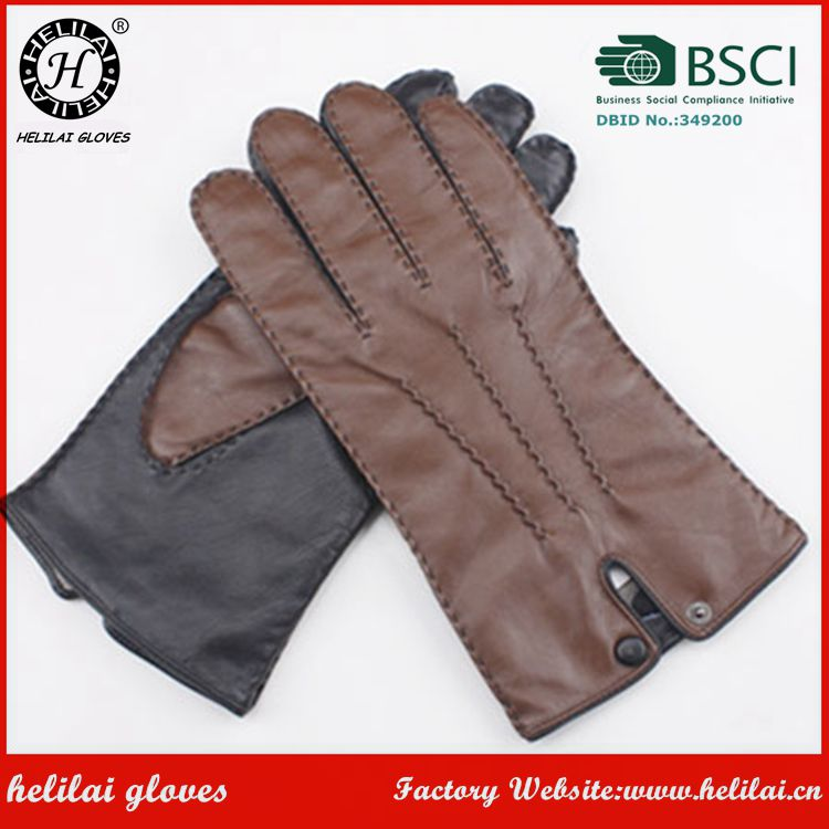 High Quality Brown and Black Twotone Gloves Hand Sewing Cashmere Lined Leather Gloves