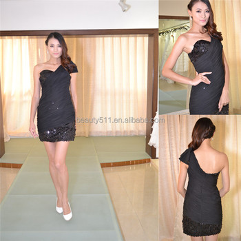Little Black prom Dress A-line Princess One Shoulder Short Mini cocktail dress Chiffon with Side Draping party dress AS219