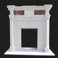 Cultured And Decorative White Marble Stone Fireplace Mantel Hearth