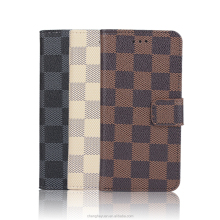 Luxury Classic Plaid Pattern Leather Flip Card Holder Case For Apple iphone 6s