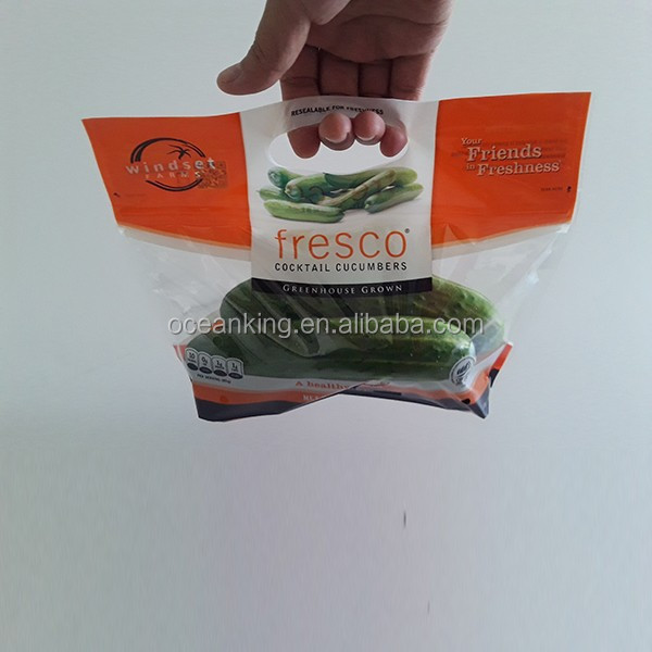 die cut breathing pin hole frozen vagetable packaging cucumber plastic bag