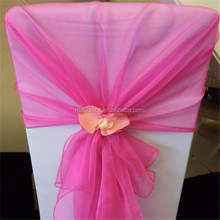 White Chair Cover With Hot Pink Organza Hood Banquet Chair Sash
