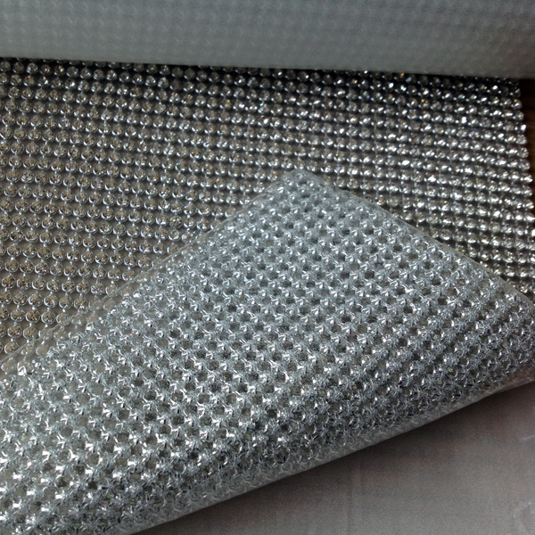 Shiny Crystal Rhinestone Metal Mesh Hot Fix Self Adhesive
