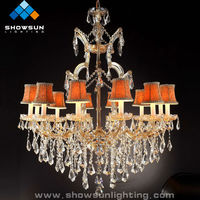 Luxury gold big chandelier lighting supplier for 12 lights
