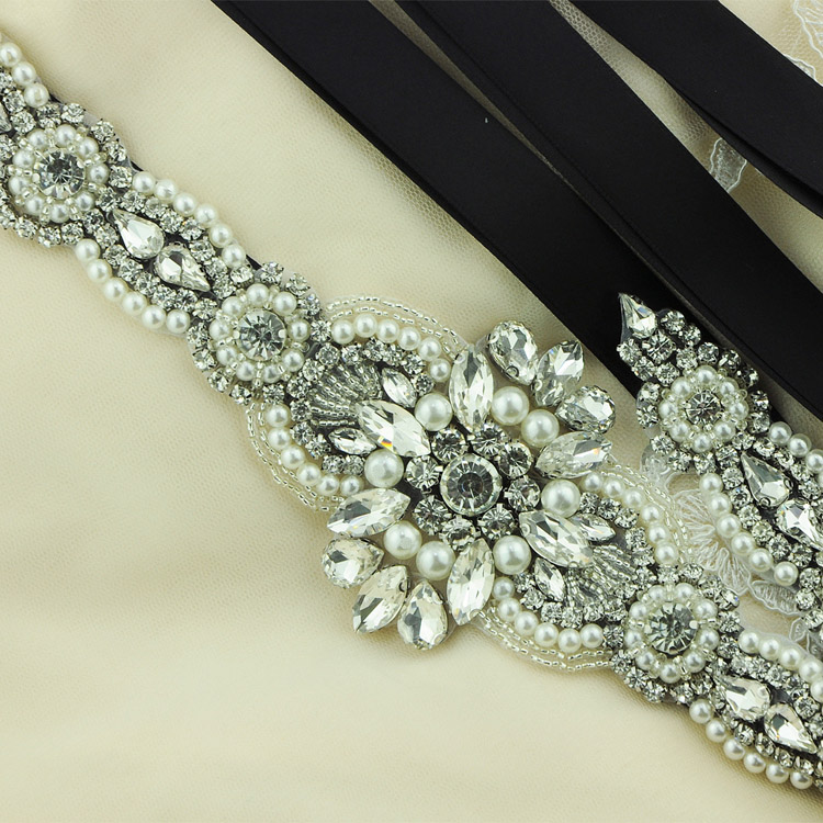 Hot Selling Wedding Bridal Belt Sashes Glinting Rhinestone Pearl Prom Dress Belt Formal Dress Crystal Belt Engagement Accessory