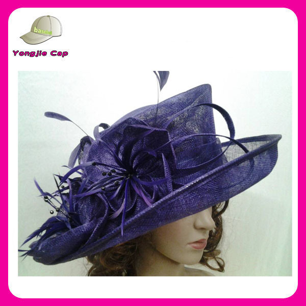 purple wedding fascinator hats china manufacturer wholesale sinamay church hats