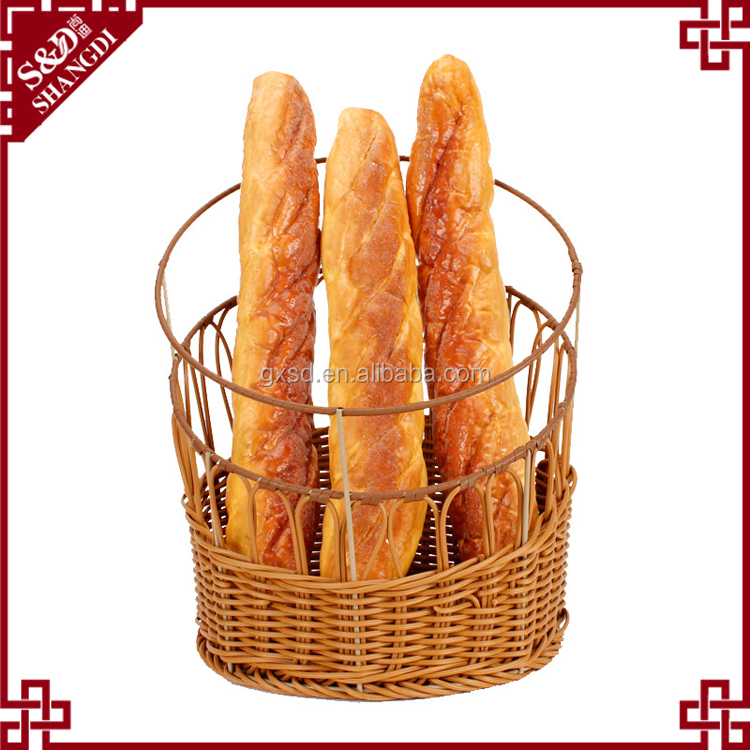 Food grade plastic wicker delicately hollow hand woven home or bakery display using french bread bin rising bread basket
