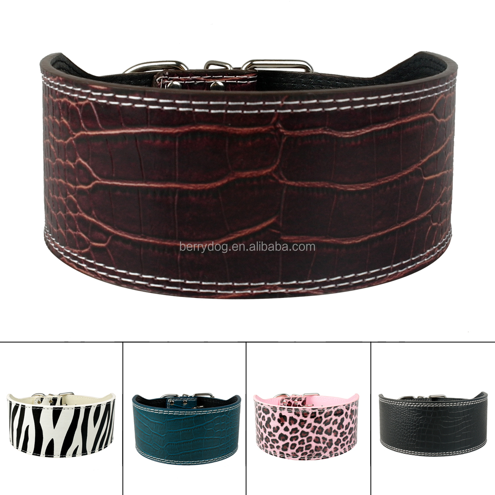 Berry Pet Products 3 Inch Wide Plain Leather Large Dog Collar