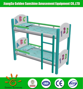 Kindergarten furniture ABC wooden bunk baby bed for sale