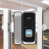 Zinc Alloy touch screen office digital password remote control fingerprint smart glass door lock