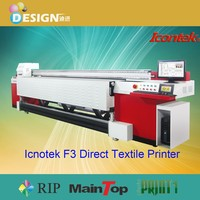 Excellent printing! Using 8 pieces SPT 508GS or SPT 1020 35pl print heads Icontek textile printer