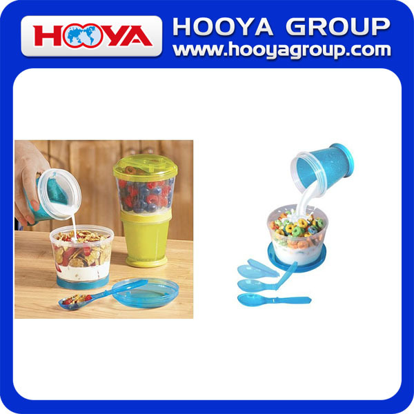 Cereal 2 Go Cup Cereal Breakfast Cup Plastic Cereal Cup Cereal Double Cup