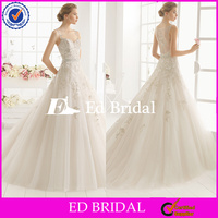 ST664 Custom Made Hot Sale Spaghetti Strap Covered Back Appliqued With Light Tulle A Line Skirt Beautiful Wedding Gown