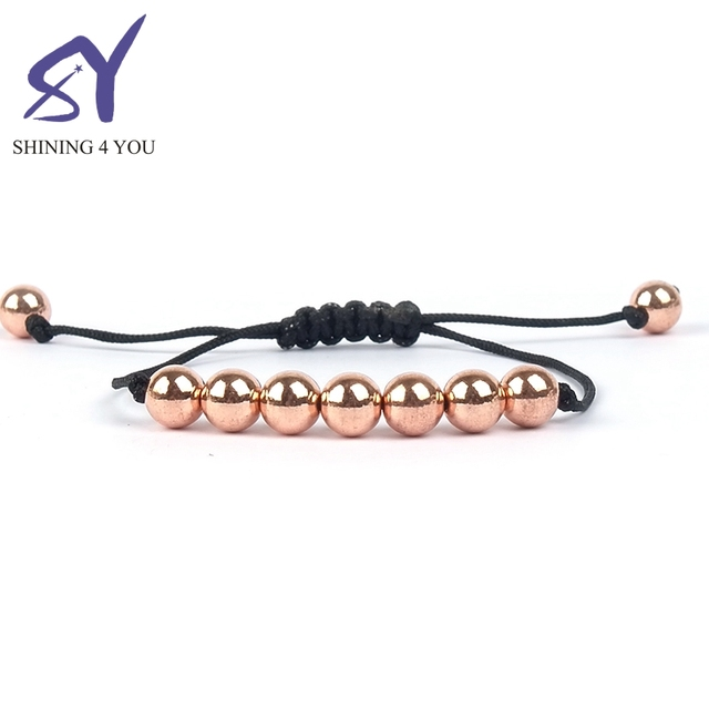 New Braided Rope and Rose Gold Beads Adjustable Wholesale Indian Boho Jewelry Bracelet