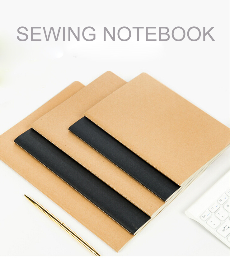 Custom Logo Accepted Simple Blank Kraft Black Sewing Stitching Notebook With Cheap Price