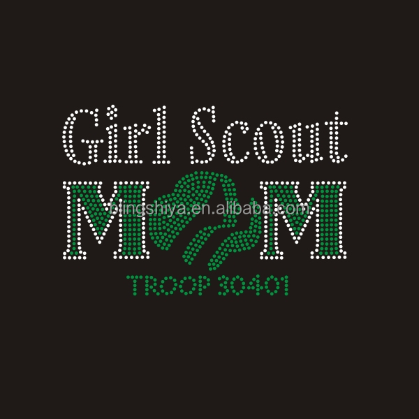 Rhinestone transfer Girl Scout MOM iron on motif for T-shirt