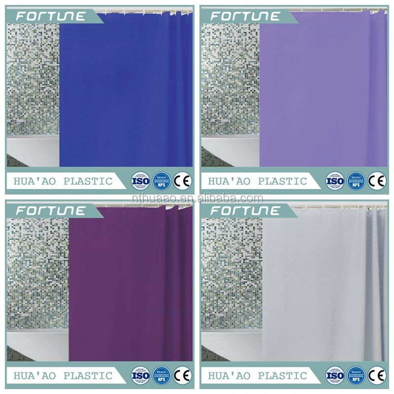 colorful solid peva shower curtain with pvc bags packaging hooks
