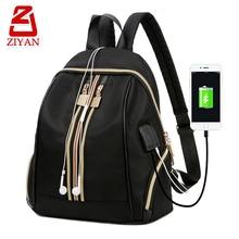 Latest fashion decor strip college usb school bags middle high school new design usb backpack waterproof with headphone jack