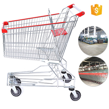 China manufacturer metal folding store shopping trolley cart with lock