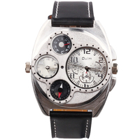 top luxury oulm 1155 brand military leather strap 2 time zone double japanese movement man sports quartz watch