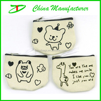 2014 jute fabric lovely mini animal print coin purse